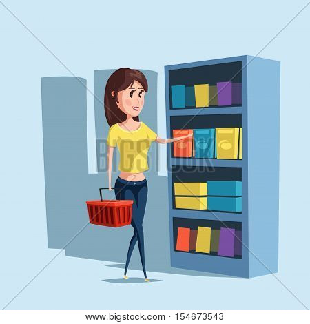 Woman or girl shopping at supermarket with basket. Girl choosing goods at store or shop, cartoon woman or female buy or purchase products. For woman consumer logo and girl or woman shopping banner