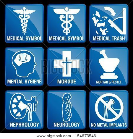 Set of Medical Icons in blue square background - MEDICAL SYMBOL, MEDICAL TRASH, MENTAL HYGIENE, MORGUE, MORTAR & PESTLE, NEPHROLOGY, NEUROLOGY, NO METAL IMPLANTS