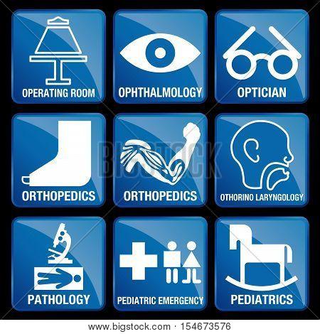 Set of Medical Icons in blue square background - OPERATING ROOM, OPHTHALMOLOGY, OPTICIAN, ORTHOPEDICS, otolaryngology, PATHOLOGY, PEDIATRIC EMERGENCY, PEDIATRICS