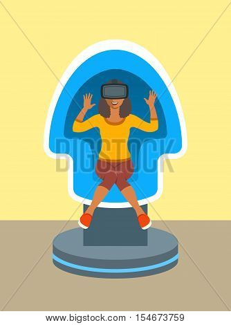 Young african woman with virtual reality glasses in VR egg chair simulator. Flat vector illustration. Virtual 3d technology devices for entertainment. Electronic gaming equipment