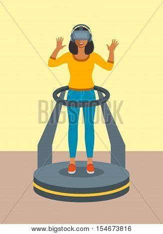 Young african woman in virtual reality glasses standing on game controller platform simulator. Flat vector illustration. Virtual 3d technology devices for entertainment. Electronic gaming equipment