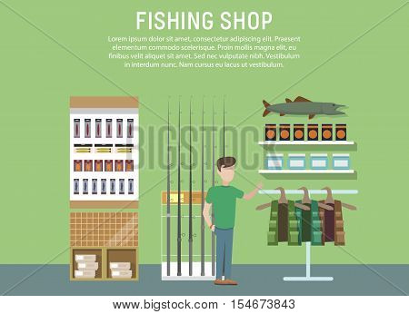 Sport or hobby fishing shop interior. Supermarket with fishing accessories or items. Fish equipment like float and hook, fishing rod or spinner. For mall or fishing store or shop banner