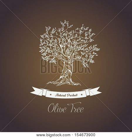 Greece olive tree logo with branches, vegetarian food. Olive grove banner or badge, olive oil sticker for bottle. May be used for vintage greek olive tree emblem, sign, liquid of olive tree ingredient
