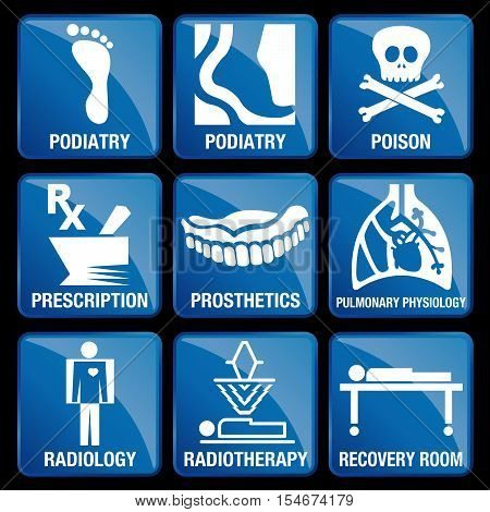 Set of Medical Icons in blue square background - PODIATRY, POISON, PRESCRIPTION, PROSTHETICS, PULMONARY PHYSIOLOGY, RADIOLOGY, RADIOTHERAPY, RECOVERY ROOM