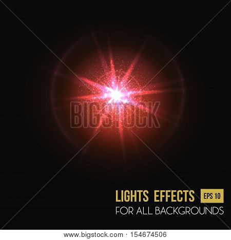 Light effect or lens flare or sparkle bokeh background. Illuminated sun flare illustration or sparkle flare, sunshine beams. May be used for poster background or flare, light spread background