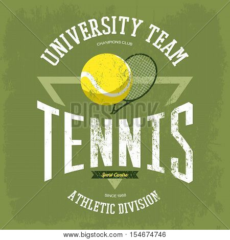 Racket with tennis ball for t-shirt logo with text university team. Sportswear design for tennis branding or tennis t-shirt print. May be used for sport theme or tennis championship theme