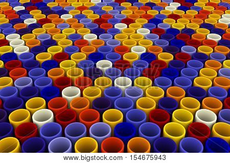 abstract colorful background from mosaic tubes 3D illustration