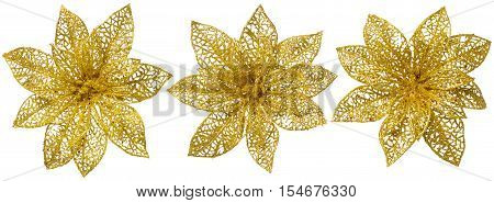Flower Christmas Tree Decoration Gold Glossy Ornament Set White Isolated
