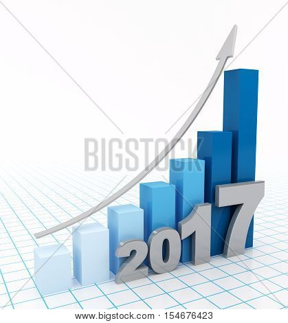 2017 graph up on white background. Growing bar graph with rising arrow. 3d illustration.