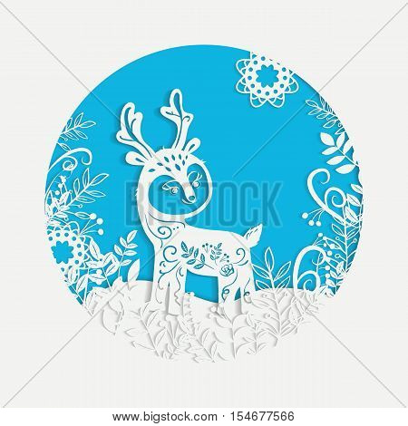 Hand drawn Christmas magic horned deer. Sketch laser cutting Winter forest background with high level of detail. Modern white decorative elements greeting card design.