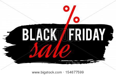 black friday sale concept vector grunge frame with text black friday and percentage sign isolated illustration