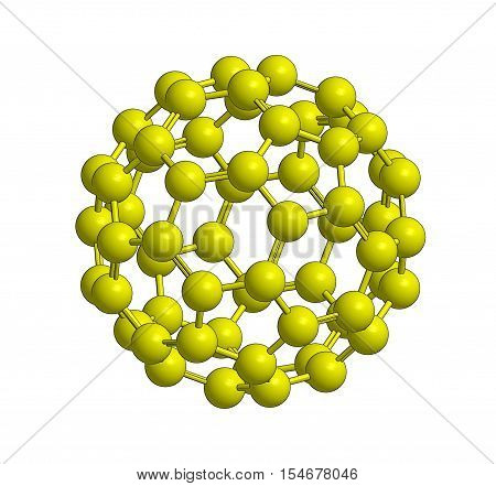 Molecular structure of fullerene - carbon atoms in form of hollow sphere 3D rendering
