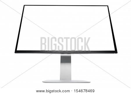 Computer display isolated on white background. Low view