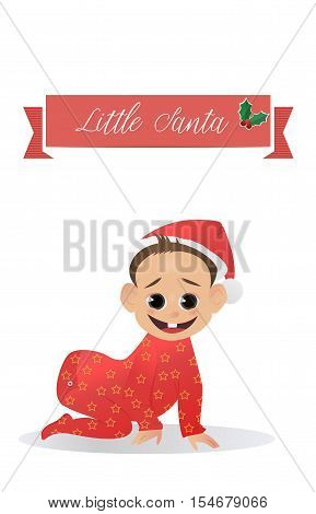 Little funny Santa. Baby Santa Claus. The first Christmas and New Year for baby. Vector illustration. Christmas characters