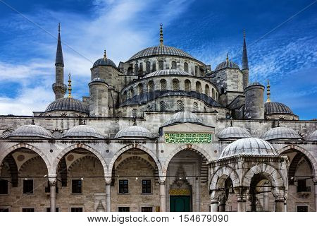 Istanbul, Turkey - AUG 16, 2016: Blue mosque Sultanahmet  building in Istanbul