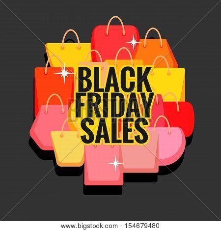 Black Friday sales vector illustration. Various shopping bags on dark background.