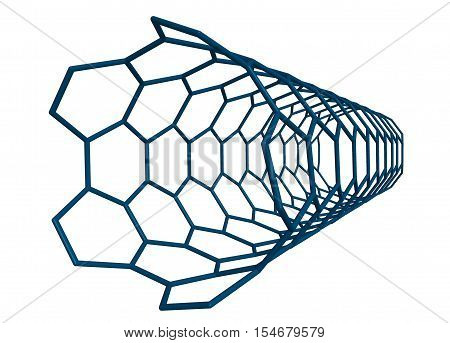 Molecular structure of small nanotube (blue) - carbon atoms in form of hollow tube 3D rendering
