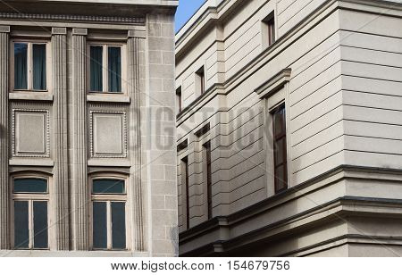 Horizontal close up of buildings with classical architecture