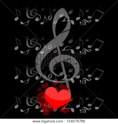 Music and love musical notes and romantic hearts