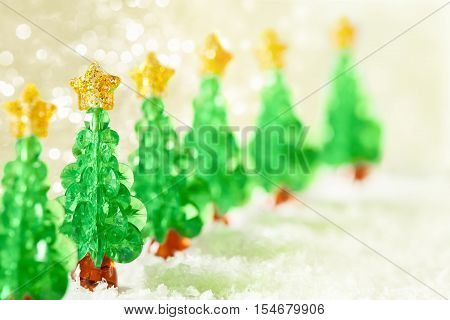 Christmas Tree Decoration on Snow over Lights Background Abstract Xmas Trees Toys Sparkles Stars