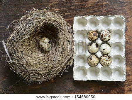 Quail eggs in a straw nest on wooden background.