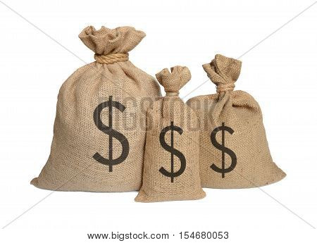 Three sack bags on a white background