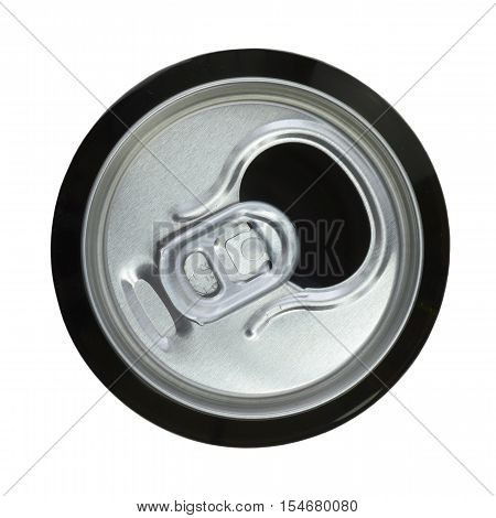 The open can of beer. Top view.