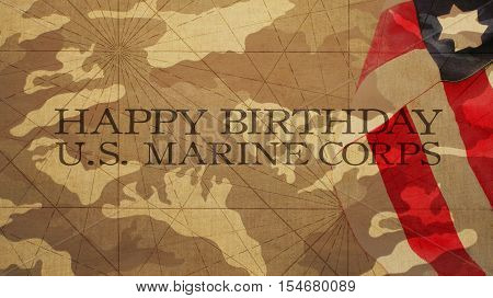 Happy Birthday US Marine Corps Flag and Camouflage Background