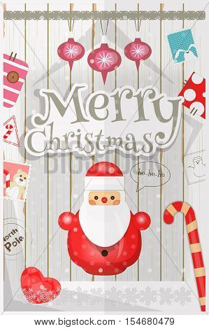 Christmas Card - Cute Santa Claus and New Year Symbols and Ornaments on White Wooden Background. Vector Illustration.