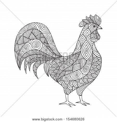 Adult coloring book page design with a picture of a rooster. Coloring book page for adult. Vector illustration in the style of zentangle, doodle, ethnic, tribal design.Symbol of the new year.