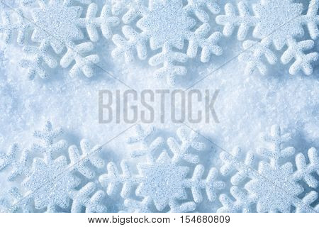 Snow Flakes Frame Blue Snowflakes Decoration Background Winter Concept