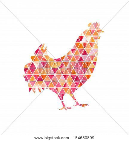 Illustration of rooster, symbol of 2017 on the Chinese calendar. Silhouette of red cock made with watercolor triangles. Element for New Year's design. Image of 2017 year of Red Rooster.