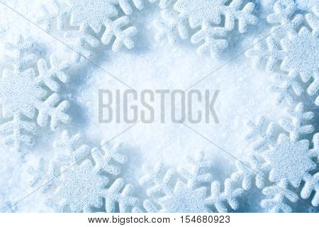 Snowflakes Frame Snow Flakes Blue Decoration Background Winter Concept