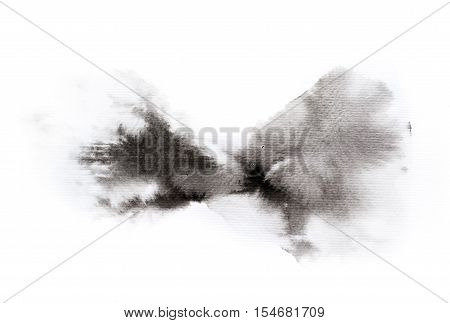 Art of Watercolor. Black ink blot isolated on watercolor paper. Gray color. Abstract background and illustration texture for design.