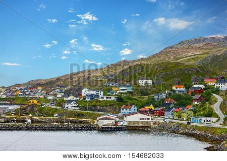 Honningsvag is Norwegian town beyond the Arctic Circle.