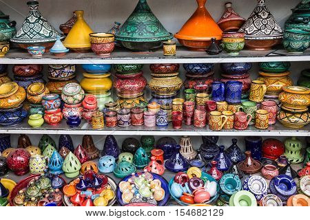 Ceramicl utensil on Moroccan souvenir shop, tajines