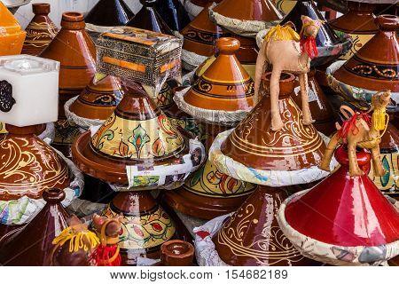 Ceramicl utensil on Moroccan market, African tajines