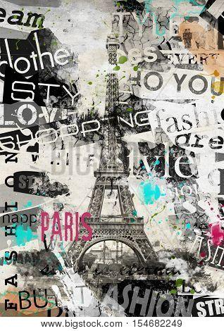 PARIS FRANCE. Vintage illustration with Eiffel Tower La Tour Eiffel in Paris France