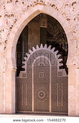 Mosque door Casablanca, Morocco. Mosque Hassan II