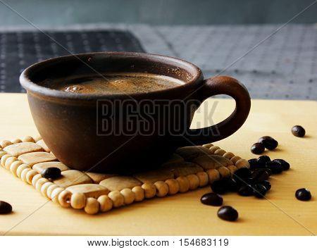 Turkish coffee with cardamom and cinnamon morning invigorating aromatic coffee brewing