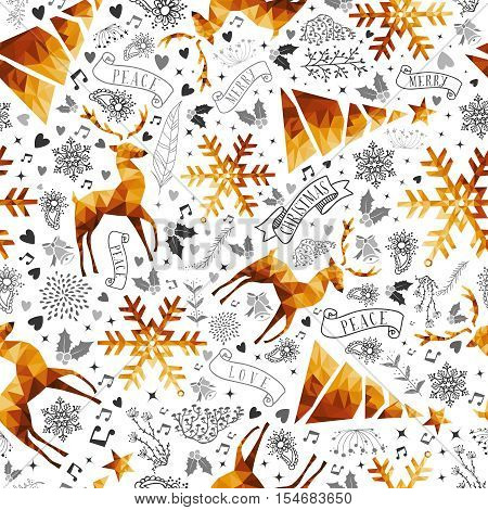 Christmas Hand Drawn And Low Poly Symbols Pattern