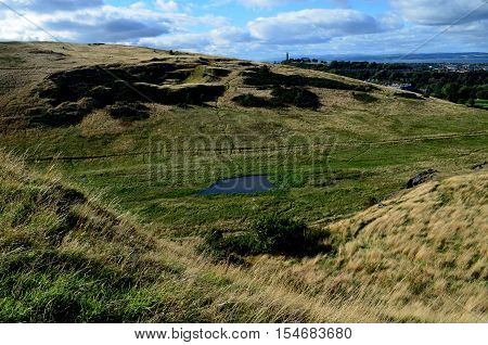 Rolling landscape at Arthur's Seat in Scotland.
