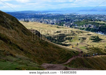 A look at Edinburgh Scotland from Archer's Seat in Scotland.