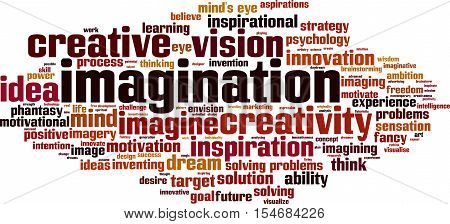 Imagination word cloud concept. Vector illustration on white