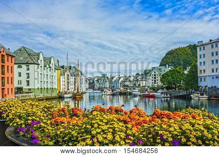 Alesund, Norway - Sep 6, 2016: Seafront of town and sea port Alesund, Norway.