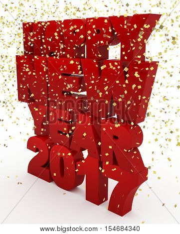 Red happy new year 2017 text with confetti rain on white background. 3d illustration.