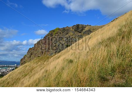Rock outcropping on Arthur's Seat in Scotland.