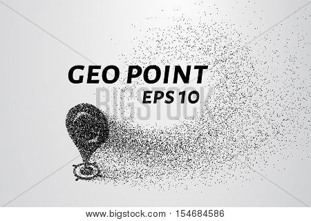 Geo point of the particles. Geo mark consists of circles and points. Vector illustration