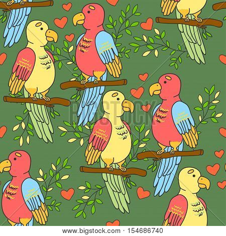 Lovebirds parrots pattern. Birds pattern with hearts on a green background.