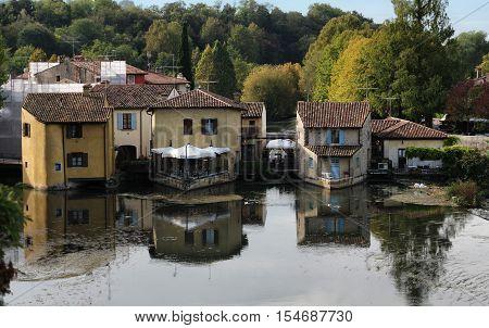 ancient Village upon the Mincio river in Borghetto Verona Italy